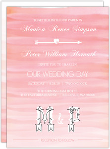 Soft Pink Watercolor Ombre Wedding Invitation