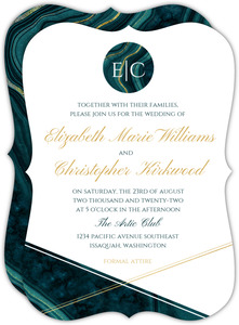 Turquoise & Faux Foil Geode Wedding Invitation