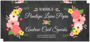 Spring Country Floral Chalkboard Wedding Invitation