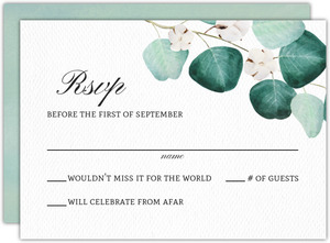 Silver Dollar Branches Wedding Response Card