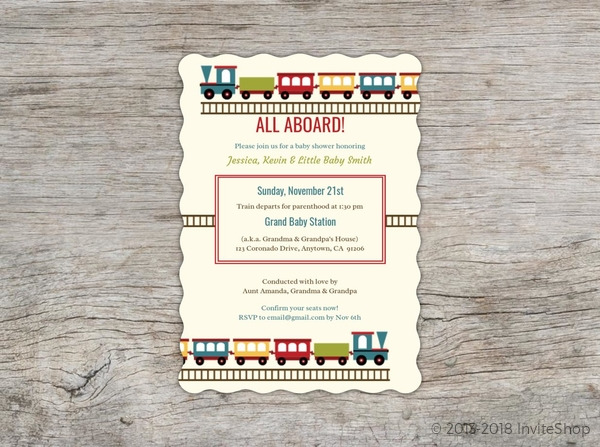 Colorful train baby shower invite baby shower invitations baby train baby shower invite filmwisefo