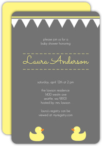Gray with Yellow Ducks Gender Neutral Baby Shower Invite