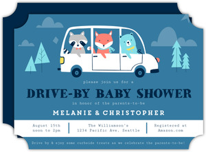 Animals Drive By Baby Shower Invitation