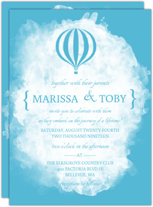 White Watercolor Hotair Balloon Wedding Invitation
