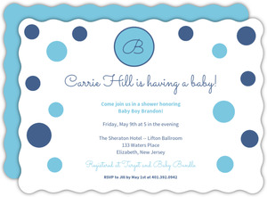 Blue Polka Dot Baby Shower Invite