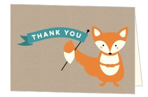 Woodland Baby Fox Thank You Card