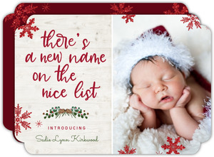 New Name On List Holiday Birth Announcement