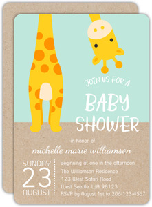 Peek-a-boo Giraffe Baby Shower Invitation