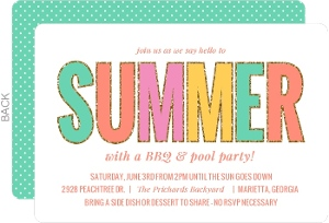 Whimsical Typographic Summer Celebration Party Invitation