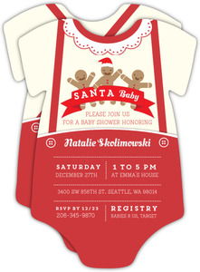 Santa Baby Gingerbread Onesie Baby Shower Invitation