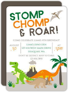 Stomp Chomp & Roar Birthday Party Invitation