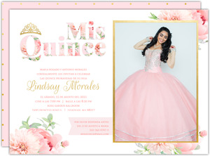 Delicate Pink Flowers Quinceanera Invitations