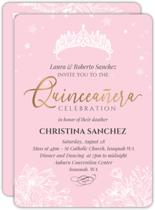 Princess Crown Floral Quinceanera Invitation