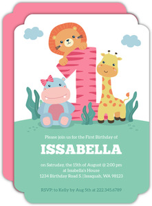 Baby Animals Pink First Birthday Invitation