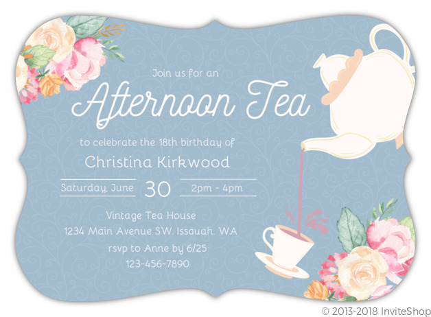Afternoon Tea Party Birthday Invitation Kids Birthday Invitations