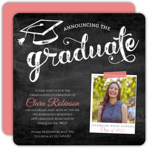 Chalkboard Typography Graduation Announcement
