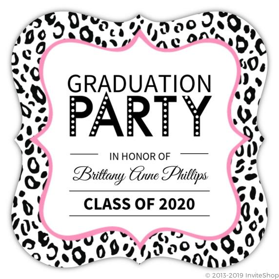 leopard print graduation invite graduation announcements