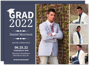 Stylish Blue Graduation Invitation