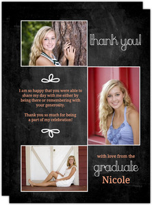 Photo Chalkboard Graduation Thank You Card