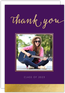 Faux Foil Graduation Photo Thank You Card