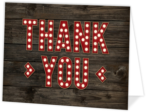 Rustic Woodgrain Marquee Letters Thank You Card