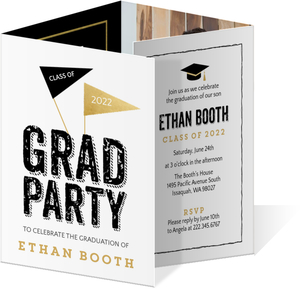 Faux Foil Black & White Graduation Announcement
