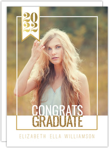 Modern Faux Gold Decor Graduation Announcement