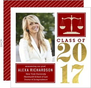 Bold Gold Foil Block Law School Graduation Announcement
