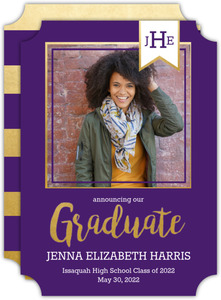 Faux Gold Foil Banner Graduation Announcement