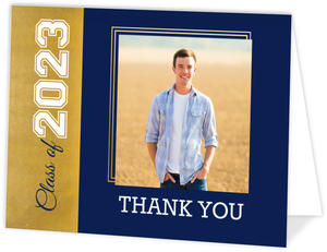 Blue & Faux Foil Graduation Photo Thank You Card