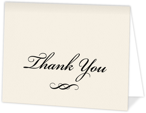 Classic Black Script Graduation Thank You Card