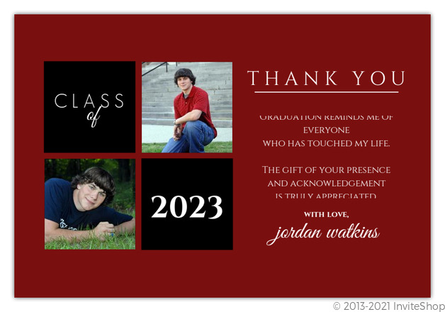 gray and red squares graduation thank you card - Graduation Thank You Cards