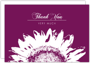 Magenta and White Sunflower Thank You Card