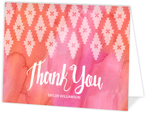 Bright Watercolor Geometric Pattern Thank You Card