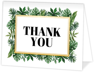 Tropical Greenery Watercolor Frame Thank You Card