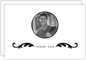 Elegant Black and White Photo Thank You Card