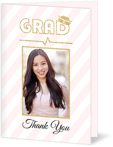 Simple Stripes Faux Glitter Nursing School Graduation Thank You Card