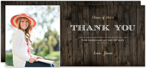 Rustic Woodgrain Graduation Photo Thank You Card