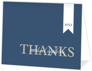 Blue and Tan Graduation Thank You Card