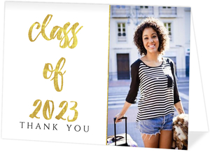 Glamorous Faux Foil Graduation Thank You Card