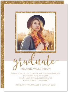 Modern Glittery Frame Graduation Announcement