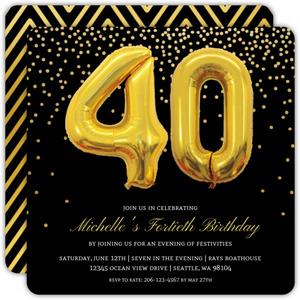 Faux Gold Balloons 40th Birthday Invitation