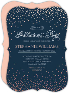 Rose Gold Foil Confetti Graduation Party Invitation