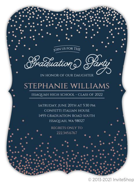 rose gold foil confetti graduation party invitation graduation