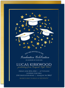 Faux Gold Foil Star Confetti Graduation Invitation