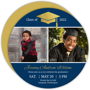 Gold Foil Cap & Photo Graduation Announcement