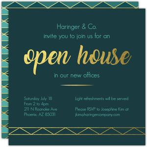 Blue and Gold Triangle Business Open House Invitation