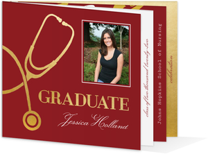 Elegant Faux Gold Medical Graduation Booklet Invitation