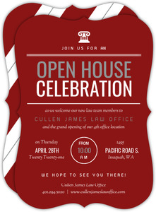Modern Red & White Law Office Open House Invitation