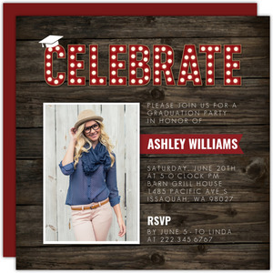 Rustic Wood Grain Celebrate Graduation Invitation